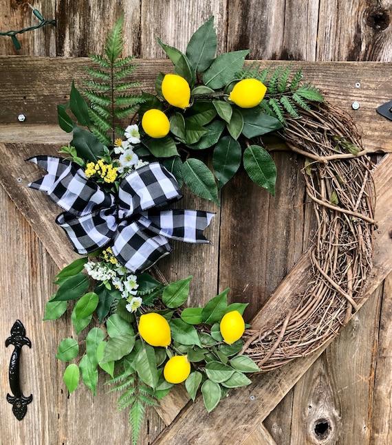 LEMON grapevine Wreath, Summer wreath, lemon wreath, spring wreath, farmhouse wreath, lemon decor, buffalo check ribbon wreath