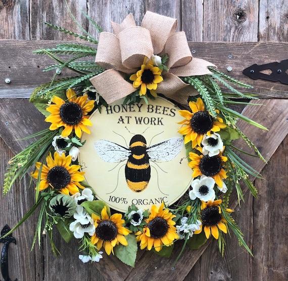 BEE sunflower grapevine wreath, sunflower bee wreath , organic bee aign wreath , summer wreath, sunflower poopy wreath
