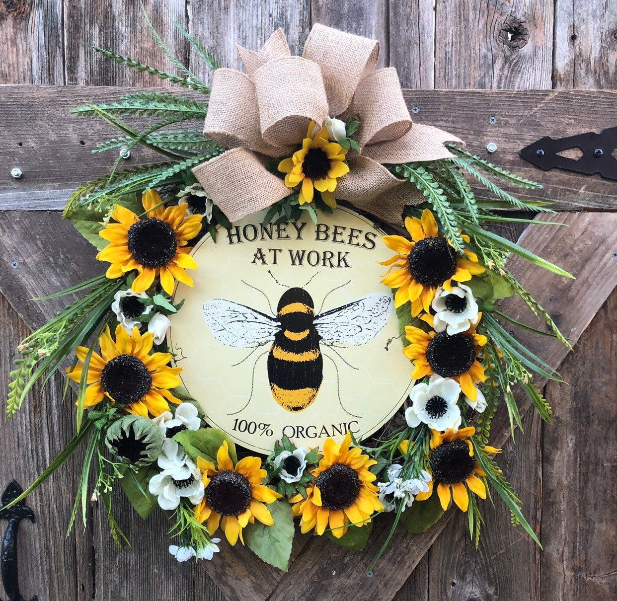 Bee Sunflower Grapevine Wreath Sunflower Bee Wreath Organic Bee Aign Wreath Summer Wreath Sunflower Poopy Wreath