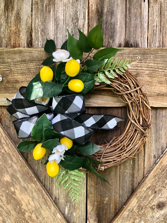 MINI LEMON grapevine Wreath, Summer wreath, lemon wreath, spring wreath, farmhouse wreath, lemon decor, buffalo check ribbon wreath