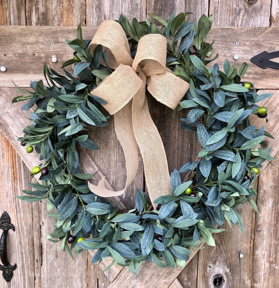 GREENERY OLIVE WREATH burlap bow, burlap ribbon wreath, olive and greenery decor, everyday leaves wreath