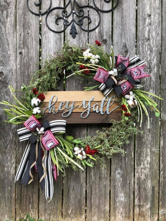 All seasons HEY Y'ALL RUSTIC Wreath, farmhouse wreath, farm animals wreath, farmhouse decor, western wreath, rodeo wreath,
