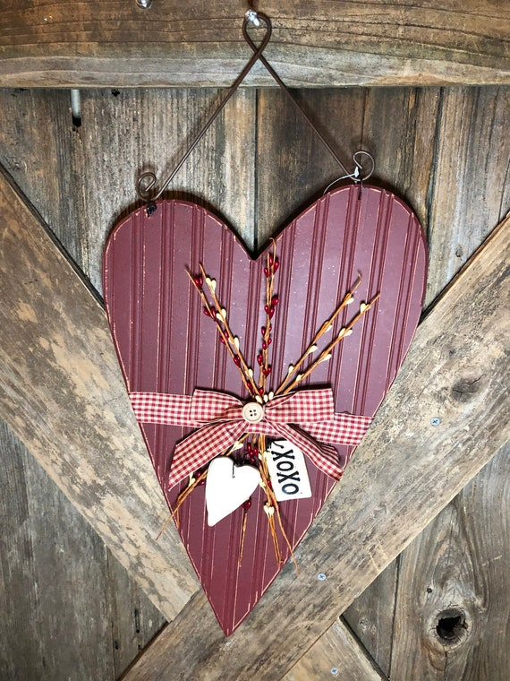 CLEARANCE! Red country wooden HEART Sign, valentine wall sign, heart sign, valentine heart decor, rustic heart sign