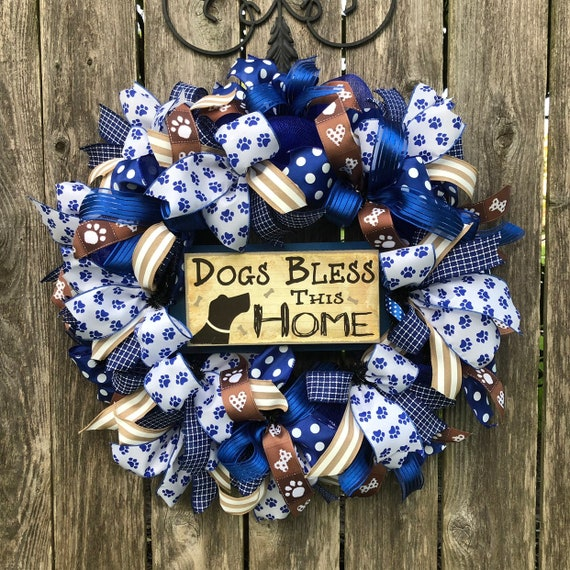 DOG WREATH, Dogs bless this home wreath, dog sign, dog deco mesh wreath
