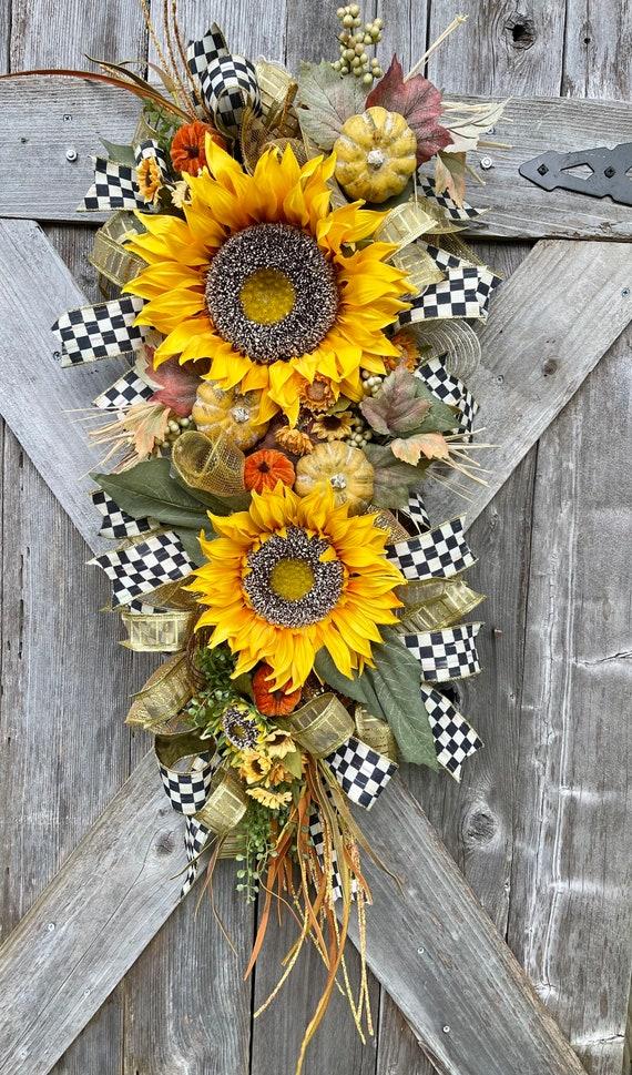 ORANGE FALL SUNFLOWER pumpkin mesh Wreath, sunflower pumpkin Fall swag, sunflower fall decor