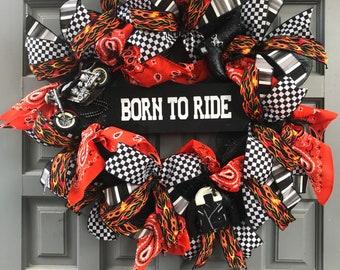 BORNTO RIDE motorcycle themed Wreath