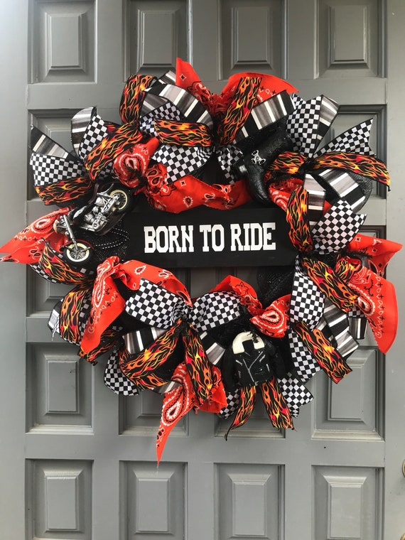 BORN TO RIDE motorcycle wreath, harley motorcycle wreath, motorcycle flame wreath, born to ride sign