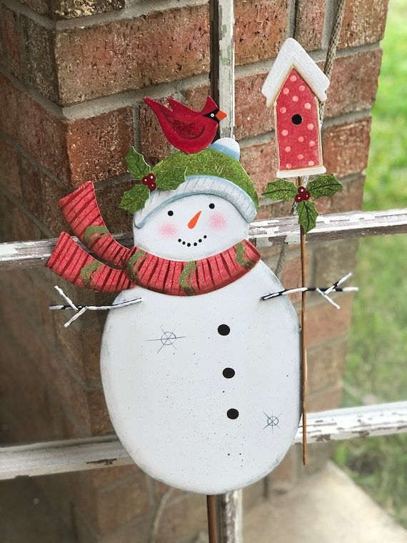 SNOWMAN BEANIE and CARDINAL sign, Round Top Collection sign, Snowman sign, Snowman yard sign, Christmas snowman yard sign, Christmas sign