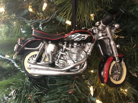 BIKER MOTORCYCLE ORNAMENT,  Christmas Ornament, Motorcycle Christmas Decor, Black Motorcycle Ornament, Cool Motorcycle Ornament