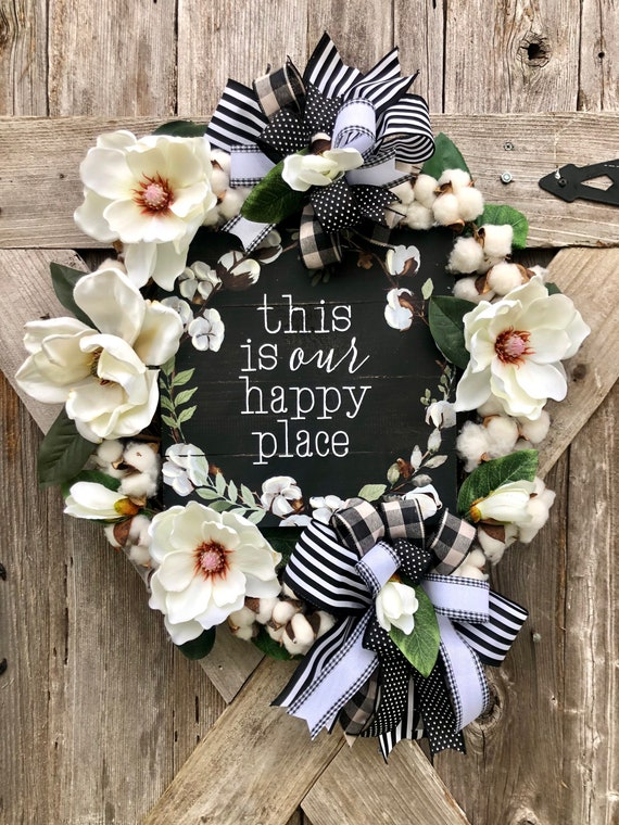 THIS is OUR HAPPY Place wreath Grapevine wreath, spring white magnolia cotton wreath