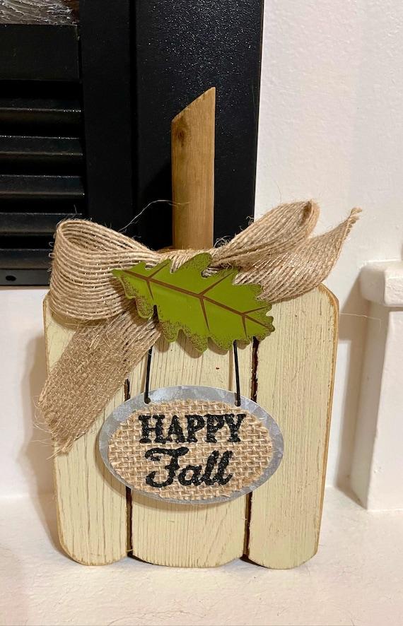 HAPPY FALL WHITE pumpkin wooden sign, pumpkin fall sign, white fall sign, decorative tray pumpkin sign