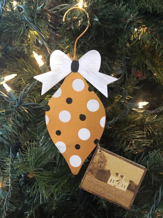 GOLD and WHITE CHRISTMAS polka dot metal ornament, Christmas ornament, Christmas Decor Gold and white tree decoration