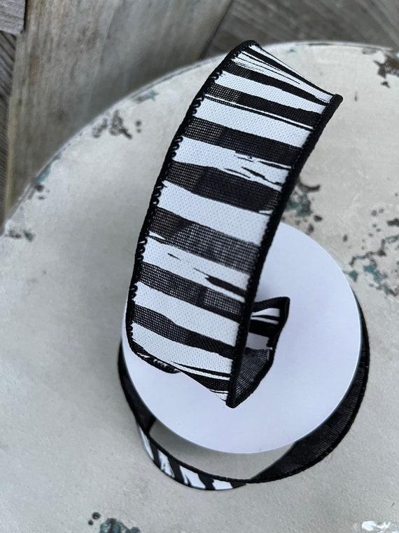 HALLOWEEN Black white RIBBON, Skelton stripe ribbon