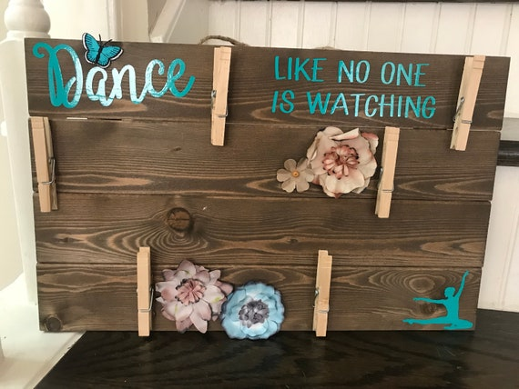 Dance Like No One is Watching Wooden Sign, Wood Picture with clips, Picture Display Board, Picture Board with clips,
