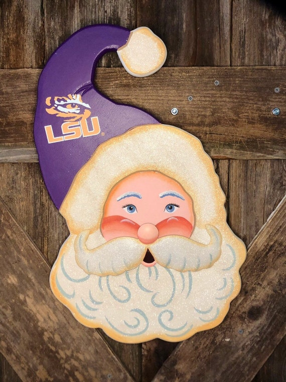 LSU SANTA wood sign, Round Top Collection sign, LSU Christmas sign, Lsu tiger Santa sign, christmas Lsu Santa head sign