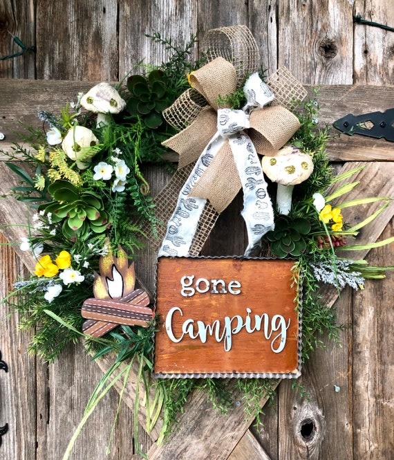 GONE CAMPING Wreath, gone camping sign, camping decor, succulent outdoor wreath, camping decor, camping sign, cactus mushroom wreath