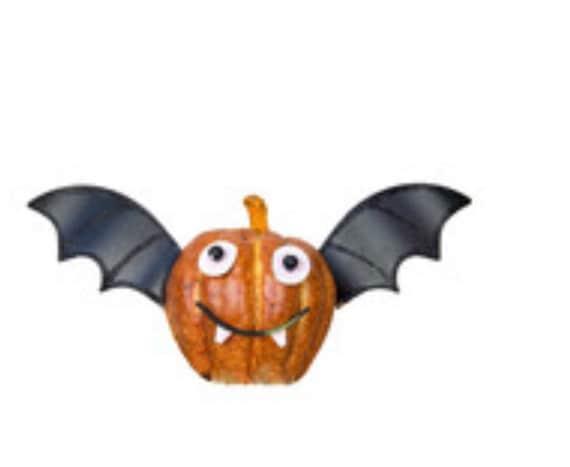 BAT FALL PUMPKIN parts for pumpkin, Bat pumpkin sign, Metal Round Top fall signs, fall decor, Halloween bat decor