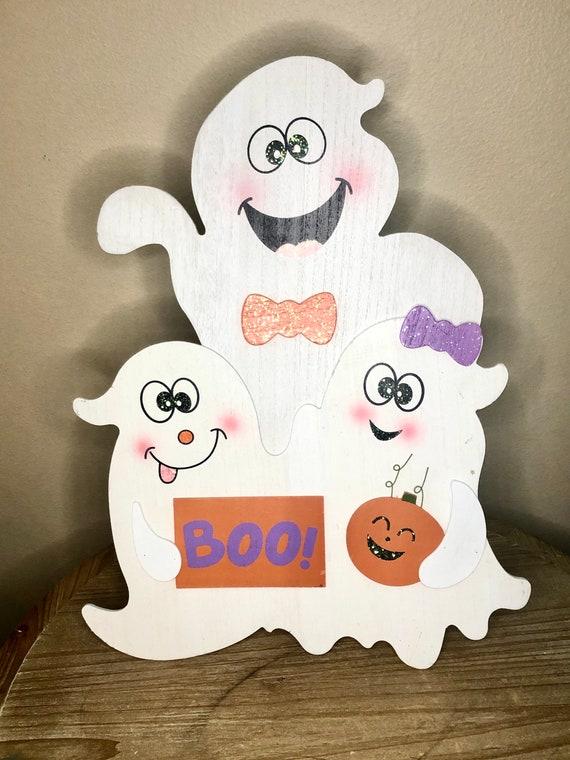 BOO sign, ghost halloween door decor, ghost sign, boo ghost doorway and mantle sign