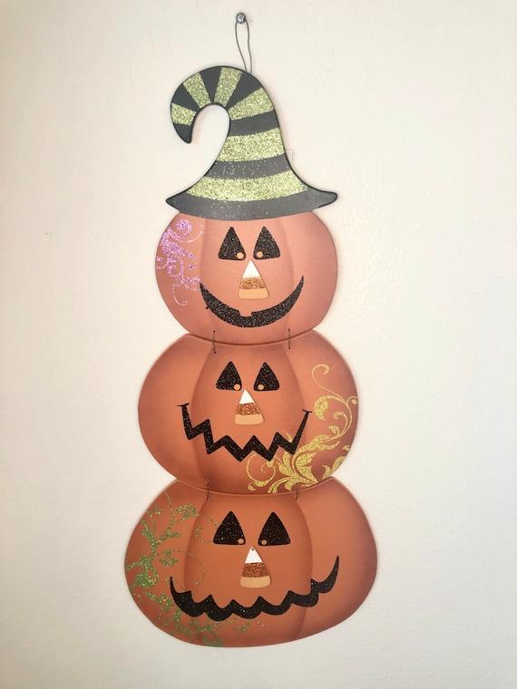 Pumpkin JACK O LANTERN wooden metal sign, pumpkin fall sign, fall orange pumpkin face sign