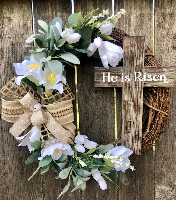 HE IS RISEN Spring Easter Wreath, tulip Lilly wreath, easter door decor, he is risen cross, spring wreath, cross wreath, he is risen sign