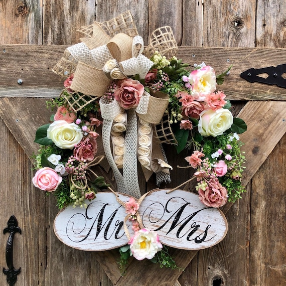 MR and MRS WEDDING Wreath, dusty rose wreath, wedding decor, rose peony wedding grapevine wreath