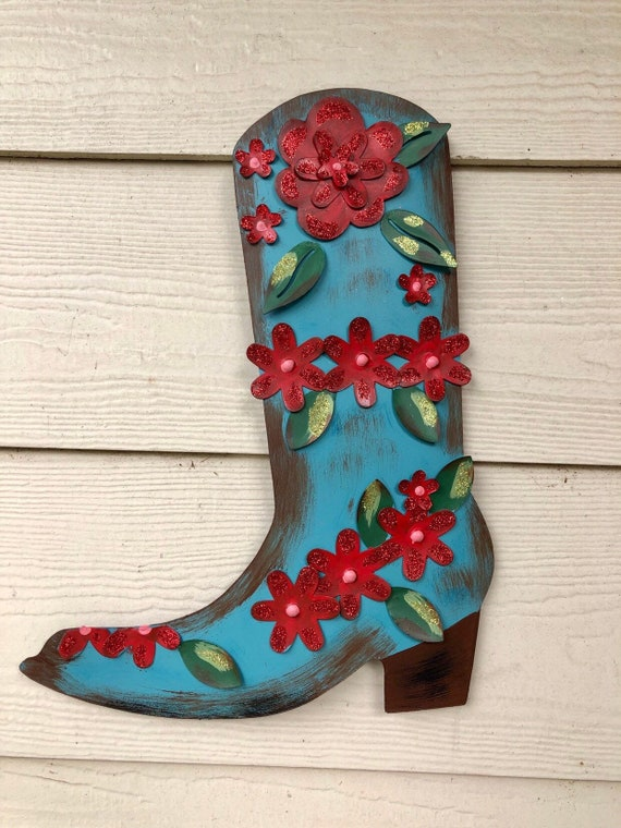 BOOT Sign JUNK GYPSY and The Round Top Collection, rustic Red and turquoise boot