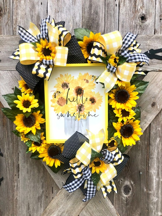 HELLO SUNSHINE SUNFLOWER wreath Grapevine wreath, spring wreath