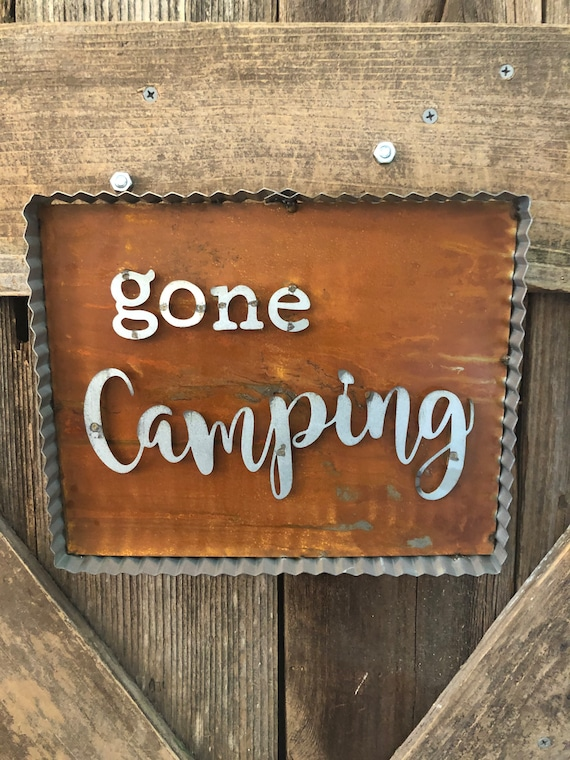 GONE CAMPING Metal sign, gone camping sign, camping decor, camp sign