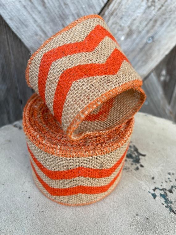 FALL BURLAP JUTE orange stripe  Ribbon