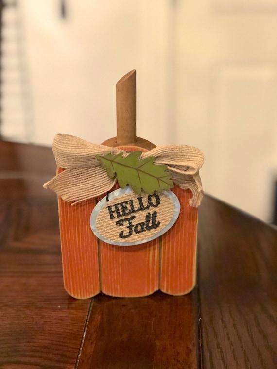 HELLO FALL ORANGE pumpkin wooden sign, pumpkin fall sign, orange fall sign, decorative tray pumpkin sign
