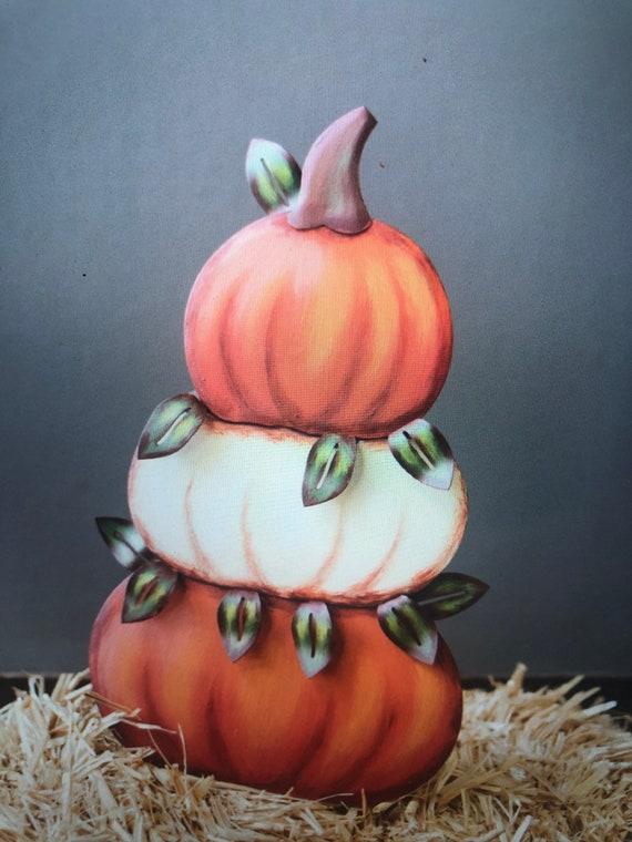 WHITE ORANGE PUMPKIN Topiary Sign, white metal pumpkin, pumpkin metal sign, round top pumpkin sign