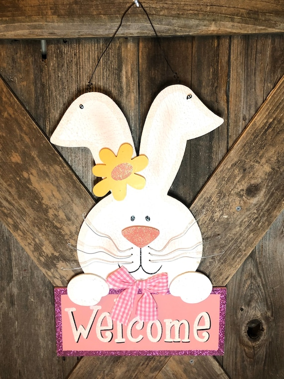 WELCOME Spring BUNNY Easter Sign, wood door sign, easter decor, easter sign