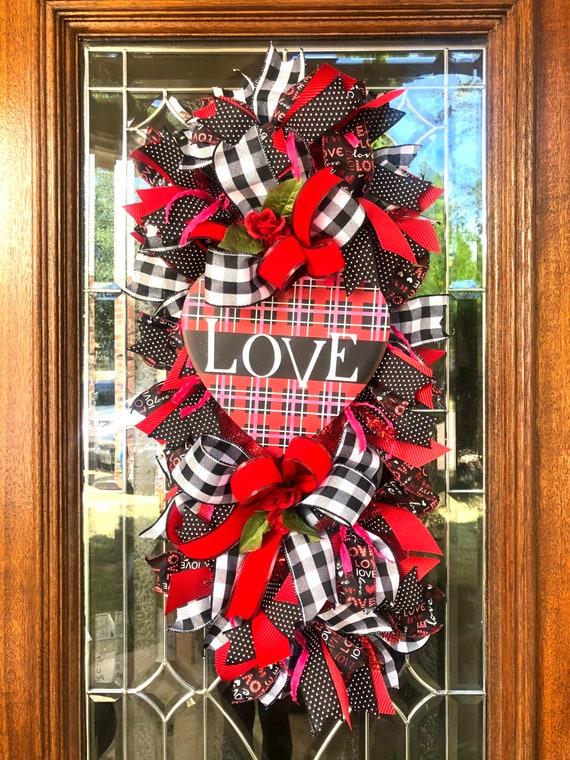 VALENTINES HEART WREATH, love heart swag, front door wreath