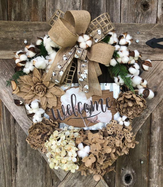 All seasons RUSTIC Cotton FARMHOUSE STYLE Wreath