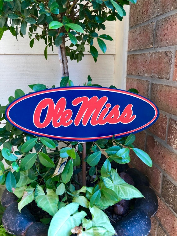 OLE MISS medium sized State University metal sign, OLE Miss Round Top metal yard or hanging sign, ole miss college sign, ole miss blue red s