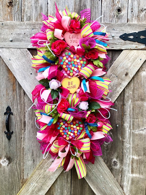 Conversation heart VALENTINES WREATH, love heart swag, front door wreath