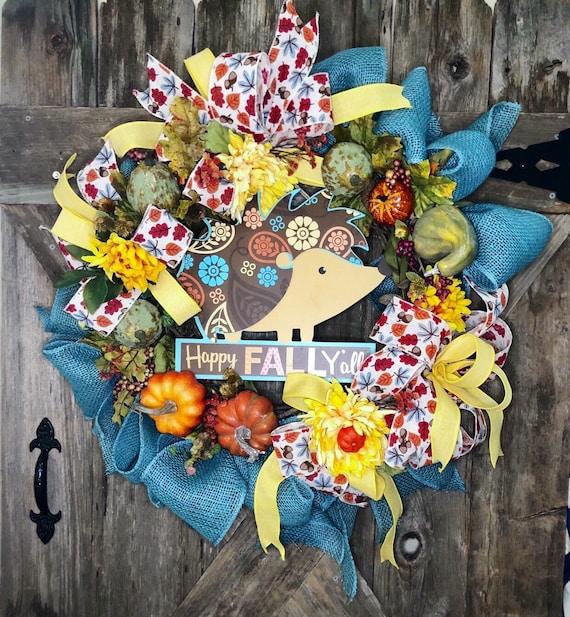 HEDGEHOG TURQUOISE Fall WREATH, Fall burlap grapevine wreath, Happy Fall Yall wreath