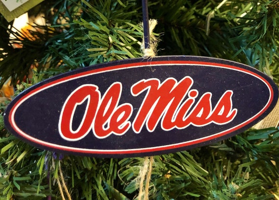 OLE MISS Christmas ORNAMENT, Ole Miss Round Top metal sign, ole miss college sign, ole miss Christmas ornament