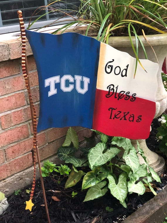 TCU sign, God Bless Texas metal yard wall sign, Patriotic metal sign, Round Top Collection sign, flag yard art, TCU flag sign