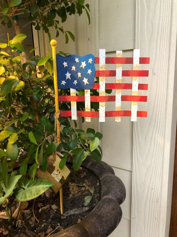 PATRIOTIC Mini Woven FLAG metal sign, Round Top Collection sign, flag yard art