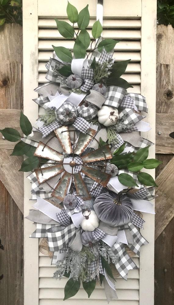 FALL FARMHOUSE GREY velvet pumpkin Swag, farmhouse fall decor, grey fall decor, grey tan white fall wreath