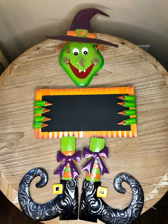 WITCH WREATH KIT, metal wreath kit, personalized witch wreath, witch wreath parts, Halloween witch wreath signs