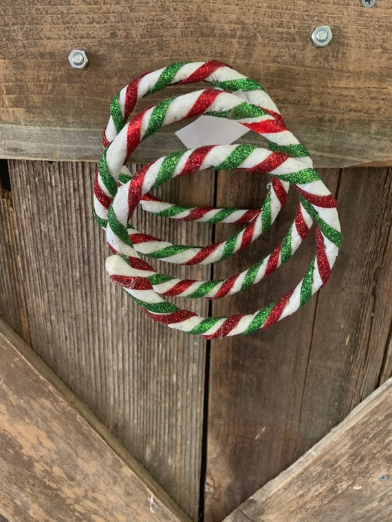 CURLY TWISTED GLITTER Sticks, Christmas Decoration, White Red Green Sticks, Red Green and White Christmas Decorations, Christmas Tree Decor