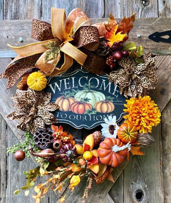 FALL PUMPKIN WREATH, Fall burlap bow grapevine cheetah accent wreath, welcome to our home pumpkin sign