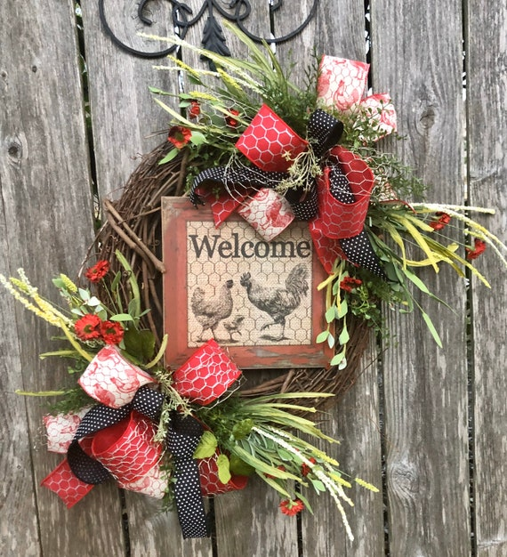 WELCOME TO The COOP Rooster grapevine Wreath, country wreath, everyday wreath, rustic wreath, rooster decor