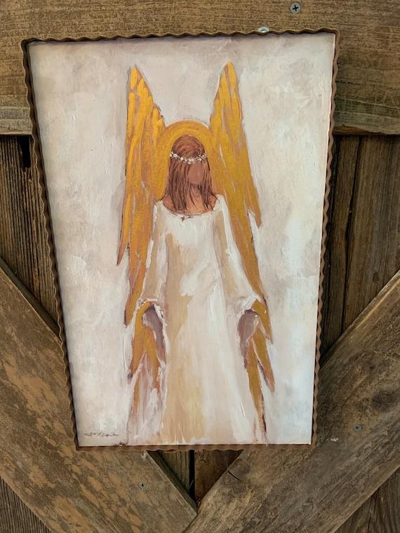 CHRISTMAS gold ANGEL Vintage Wood Metal frame sign, Angel Metal Sign, Angel Rustic Metal Framed Sign, gold white Christmas angel Sign