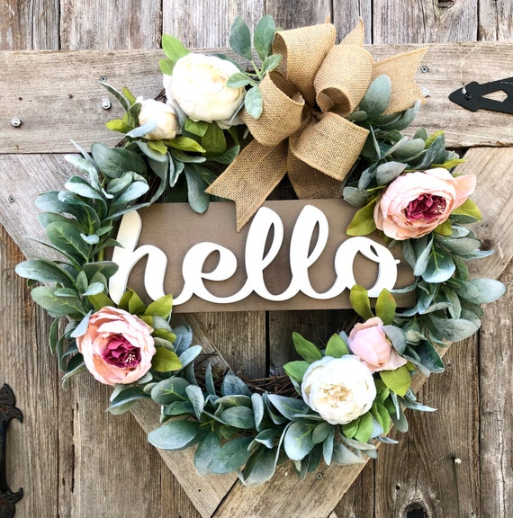 HELLO PEONY GREENERY lambs ear and Wreath with burlap ribbon