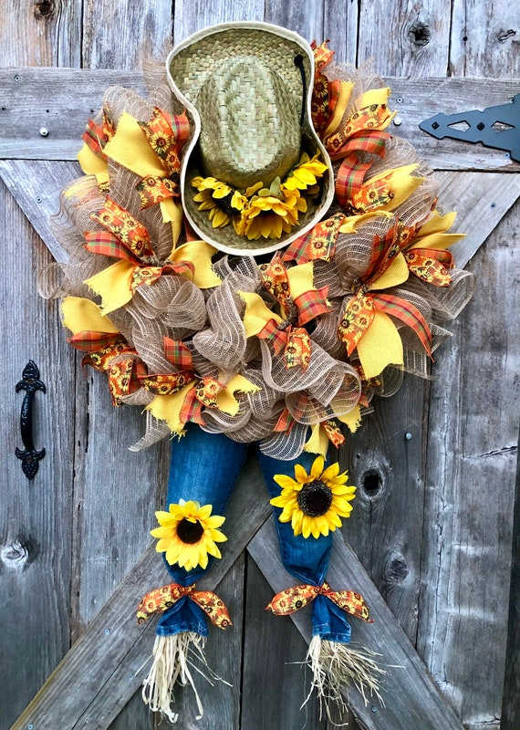 FALL COWBOY Sunflower Scarecrow Mesh WREATH, cowboy hat and jeans scarecrow wreath, scarecrow sunflower mesh wreath, sunflower fall decor