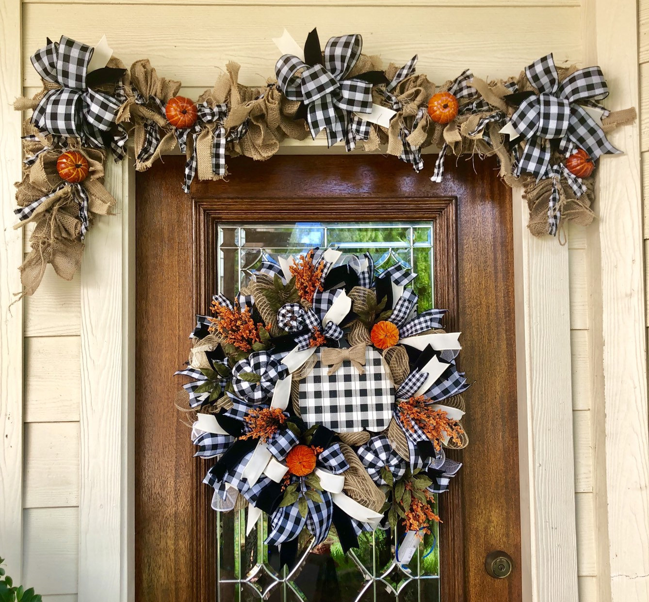 Garland Buffalo Check Burlap Fall Garland Black And White Fall Garland Mantle Garland Table Door Garland