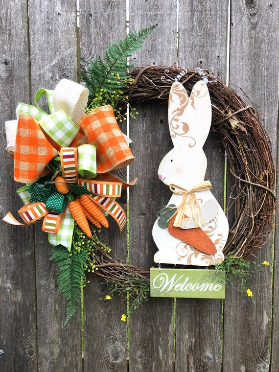 WELCOME Spring BUNNY Easter Wreath, easter wreath, grapevine bunny wreath